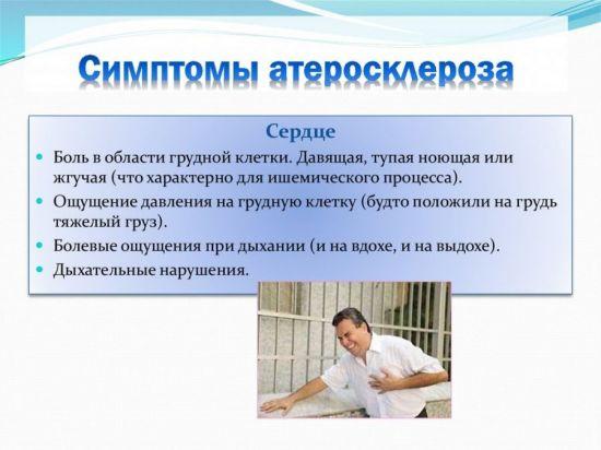 Симптомы атеросклероза